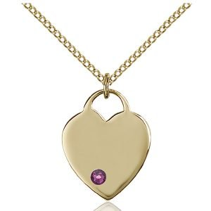 Heart Pendant - February Birthstone - Gold Filled #88628