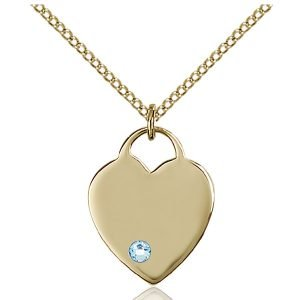 Heart Pendant - March Birthstone - Gold Filled #88629