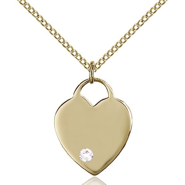 Heart Pendant - April Birthstone - Gold Filled #88630