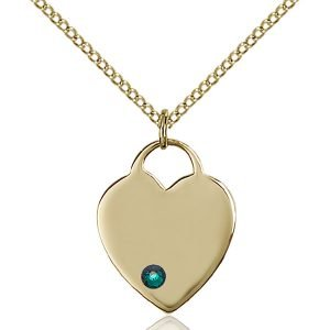 Heart Pendant - May Birthstone - Gold Filled #88631