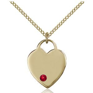 Heart Pendant - July Birthstone - Gold Filled #88633