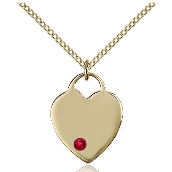 Heart Pendant - July Birthstone - Gold Filled #88633