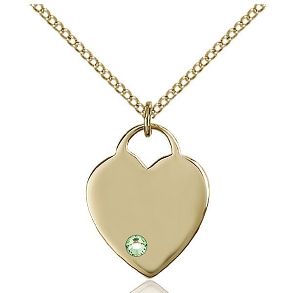 Heart Pendant - August Birthstone - Gold Filled #88634