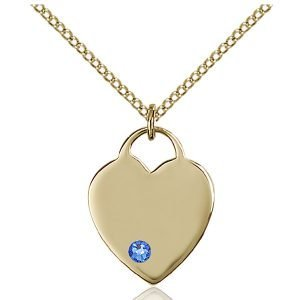 Heart Pendant - September Birthstone - Gold Filled #88635