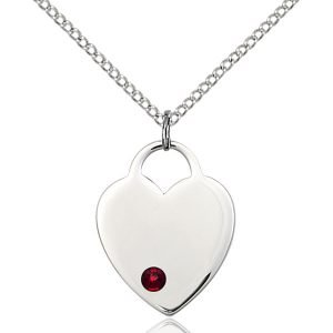 Heart Pendant - January Birthstone - Sterling Silver #88650