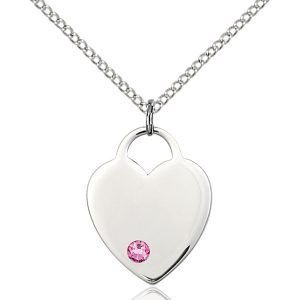 Heart Pendant - October Birthstone - Sterling Silver #88651