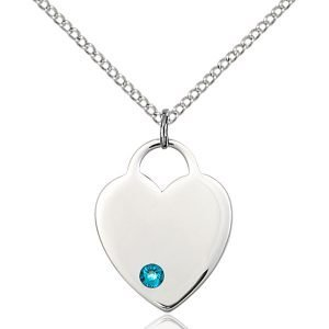 Heart Pendant - December Birthstone - Sterling Silver #88653