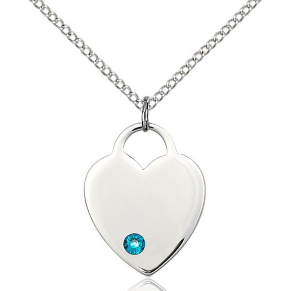 Heart Pendant - December Birthstone - Sterling Silver #88653