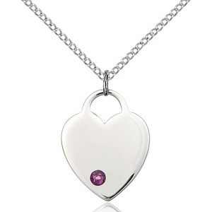 Heart Pendant - February Birthstone - Sterling Silver #88654