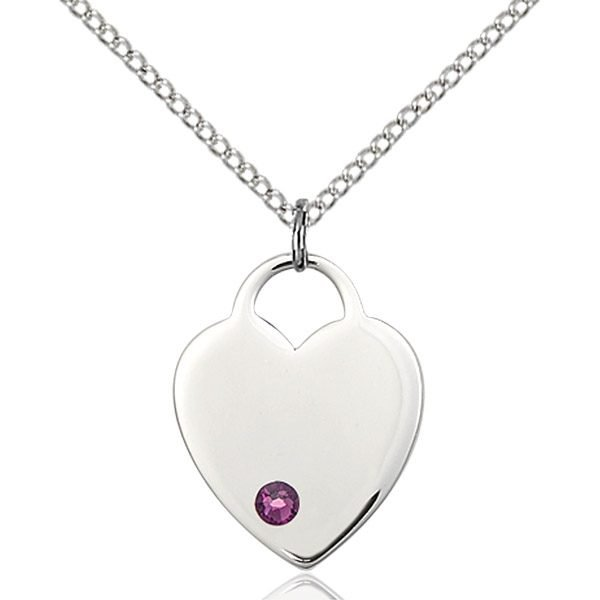 Heart Pendant - February Birthstone - Sterling Silver #88654