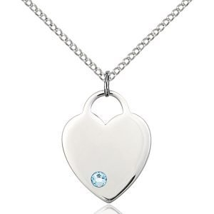 Heart Pendant - March Birthstone - Sterling Silver #88655