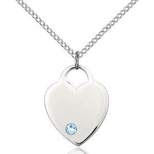 Heart Pendant - March Birthstone - Sterling Silver #88655