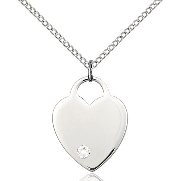 Heart Pendant - April Birthstone - Sterling Silver #88656