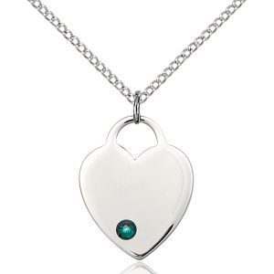 Heart Pendant - May Birthstone - Sterling Silver #88657