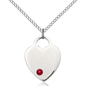 Heart Pendant - July Birthstone - Sterling Silver #88659