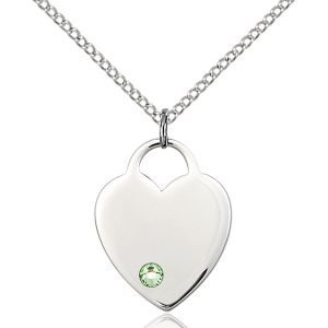 Heart Pendant - August Birthstone - Sterling Silver #88660
