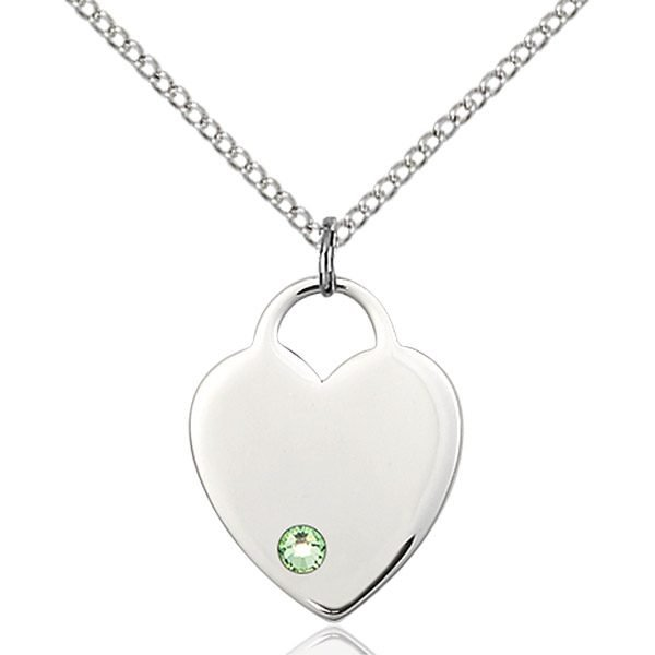 Heart Pendant - August Birthstone - Sterling Silver #88660