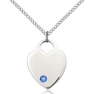 Heart Pendant - September Birthstone - Sterling Silver #88661