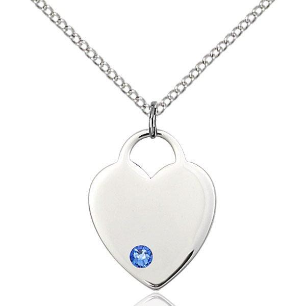 Heart Pendant - September Birthstone - Sterling Silver #88661