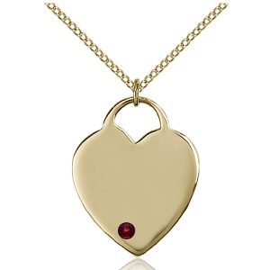 Heart Pendant - January Birthstone - Gold Filled #88699