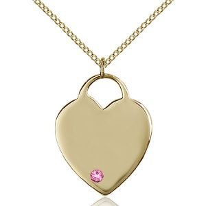 Heart Pendant - October Birthstone - Gold Filled #88700