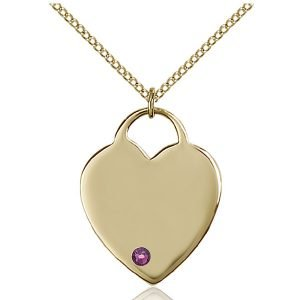 Heart Pendant - February Birthstone - Gold Filled #88703