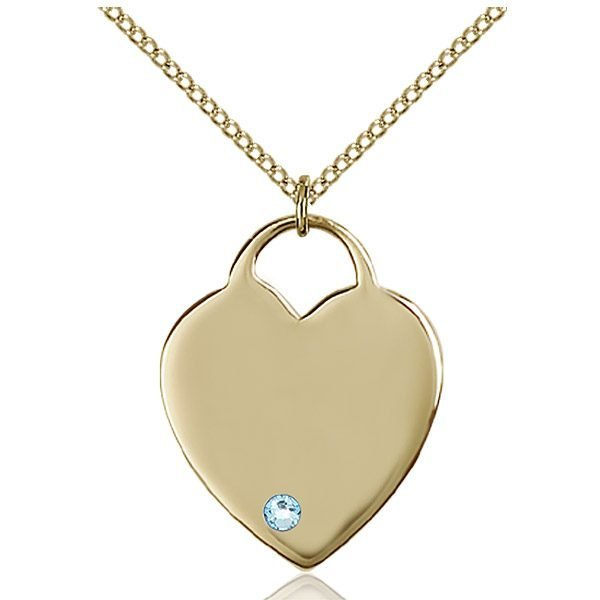 Heart Pendant - March Birthstone - Gold Filled #88704