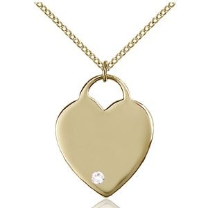 Heart Pendant - April Birthstone - Gold Filled #88705