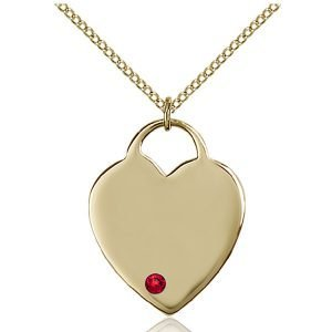 Heart Pendant - July Birthstone - Gold Filled #88708