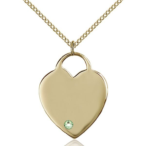 Heart Pendant - August Birthstone - Gold Filled #88709
