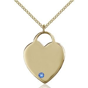 Heart Pendant - September Birthstone - Gold Filled #88710