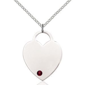 Heart Pendant - January Birthstone - Sterling Silver #88725