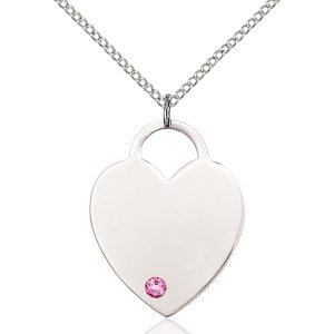 Heart Pendant - October Birthstone - Sterling Silver #88726