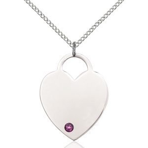 Heart Pendant - February Birthstone - Sterling Silver #88729