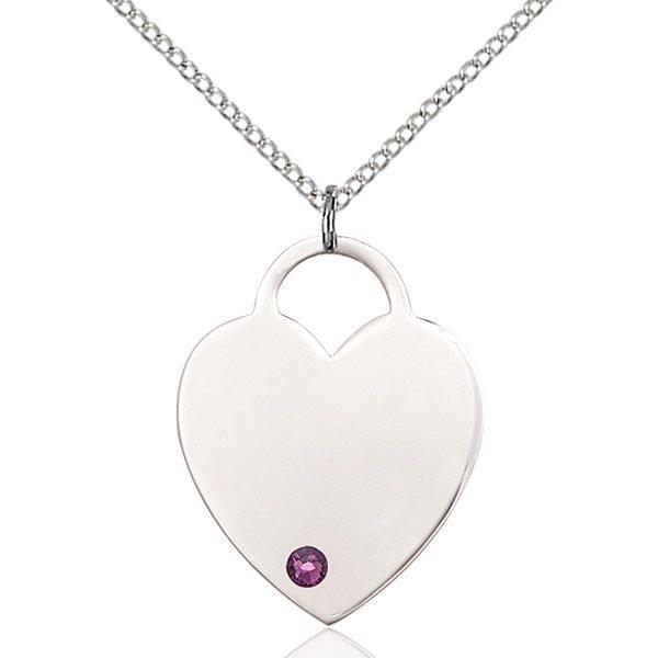 Heart Pendant - February Birthstone - Sterling Silver #88729