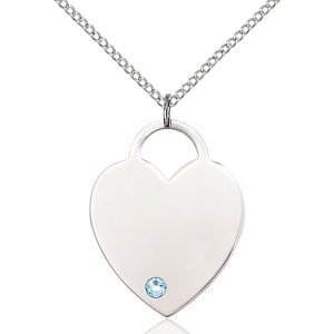Heart Pendant - March Birthstone - Sterling Silver #88730