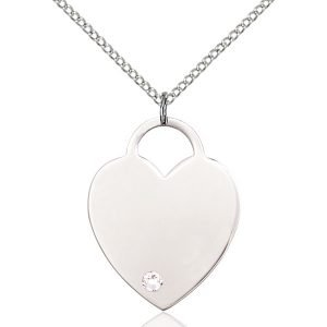 Heart Pendant - April Birthstone - Sterling Silver #88731