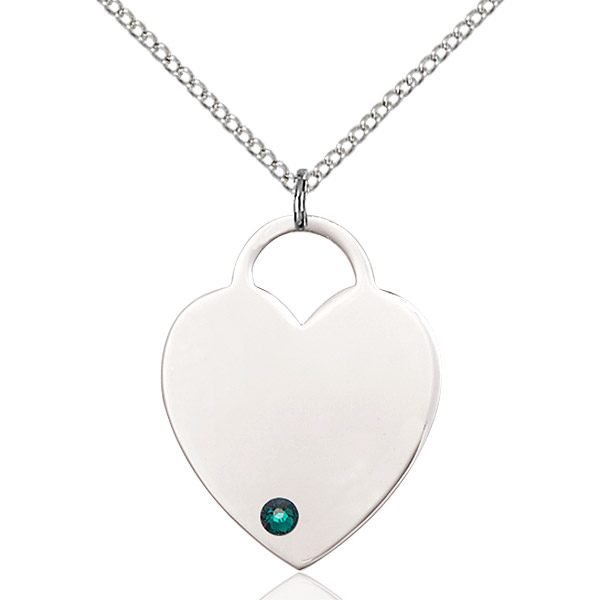 Heart Pendant - May Birthstone - Sterling Silver #88732