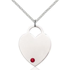 Heart Pendant - July Birthstone - Sterling Silver #88734
