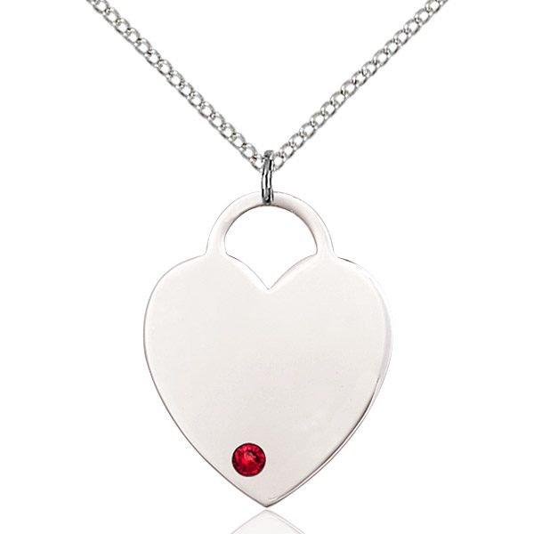 Heart Pendant - July Birthstone - Sterling Silver #88734