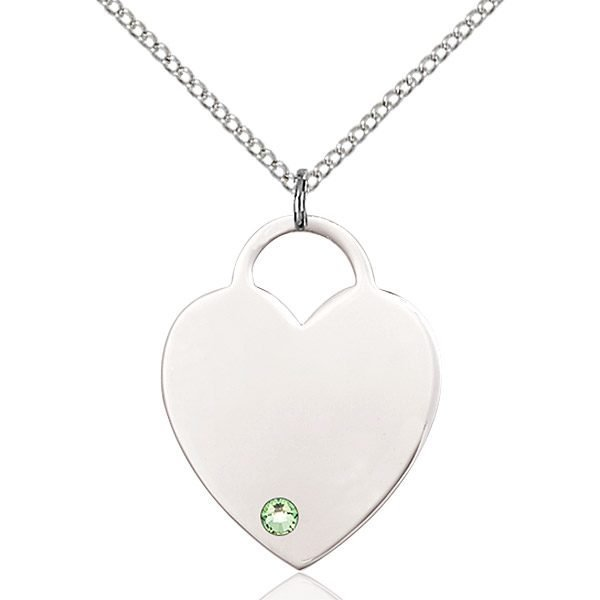 Heart Pendant - August Birthstone - Sterling Silver #88735