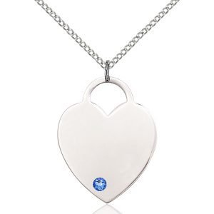Heart Pendant - September Birthstone - Sterling Silver #88736