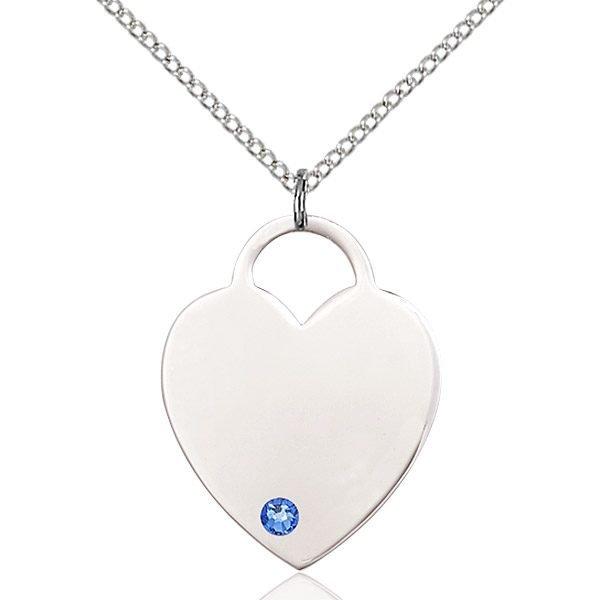 Heart Pendant - September Birthstone - Sterling Silver #88736