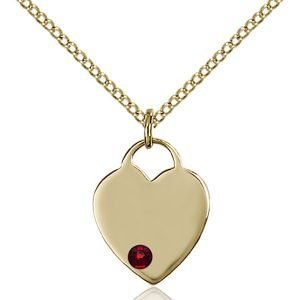 Heart Pendant - January Birthstone - Gold Filled #88738