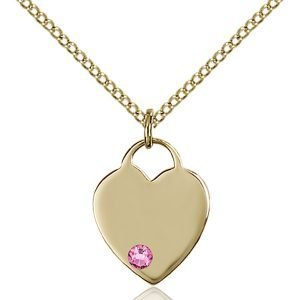 Heart Pendant - October Birthstone - Gold Filled #88739