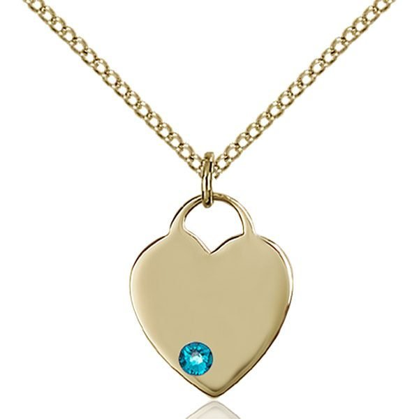 Heart Pendant - December Birthstone - Gold Filled #88741