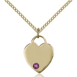Heart Pendant - February Birthstone - Gold Filled #88742