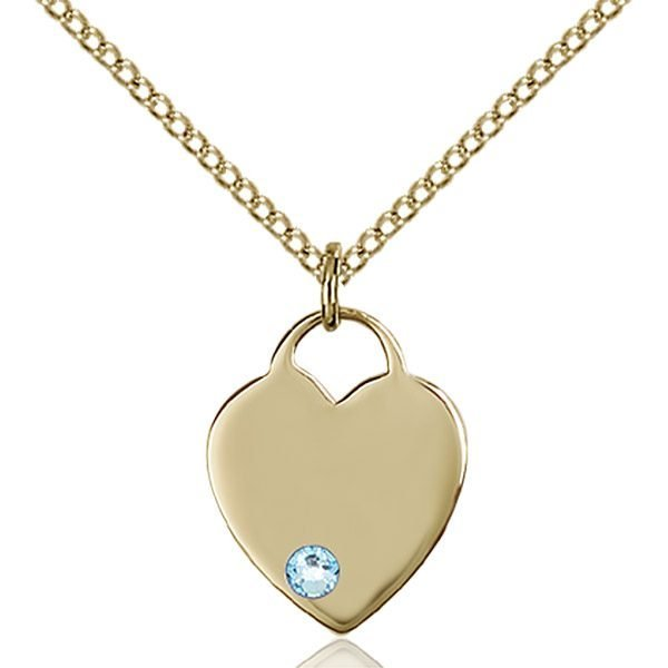 Heart Pendant - March Birthstone - Gold Filled #88743