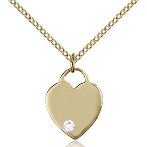 Heart Pendant - April Birthstone - Gold Filled #88744