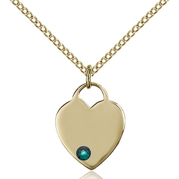 Heart Pendant - May Birthstone - Gold Filled #88745